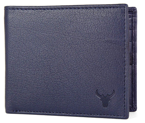 Napa Hide RFID Protected Genuine High Quality Leather Wallet & Pen Combo for Men (BLUE NAPA) - WILDHORN