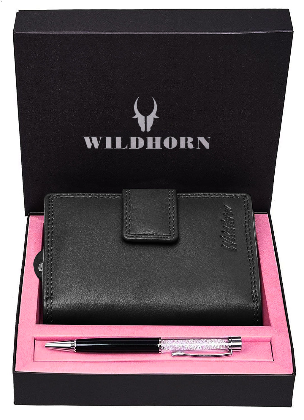 WILDHORN® Women's Leather Wallet and Pen Combo Set