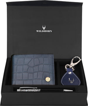 WildHorn® RFID Protected Genuine High Quality Leather Wallet Keychain & Pen Combo for Men