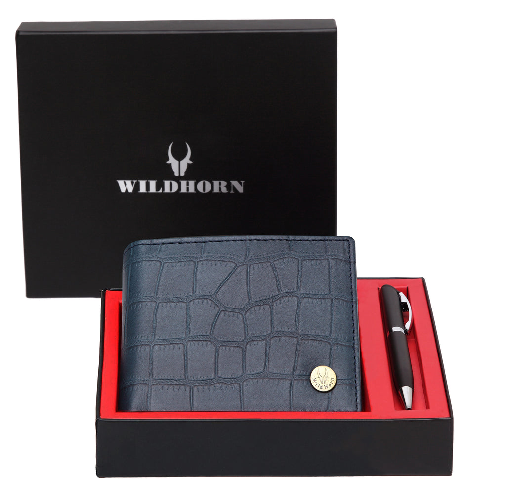 WildHorn® RFID Protected Genuine High Quality Leather Wallet & Pen Combo for Men