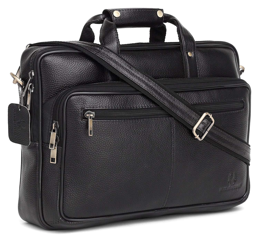 Wildhorn Genuine Leather Black 16 inch Briefcase Laptop Bag for Men with Padded Compartment | Leather Office Travel Bag with Laptop Compartment - WILDHORN