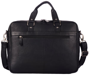WILDHORN Leather 16 inches Black Messenger Bag (MB302) - WILDHORN