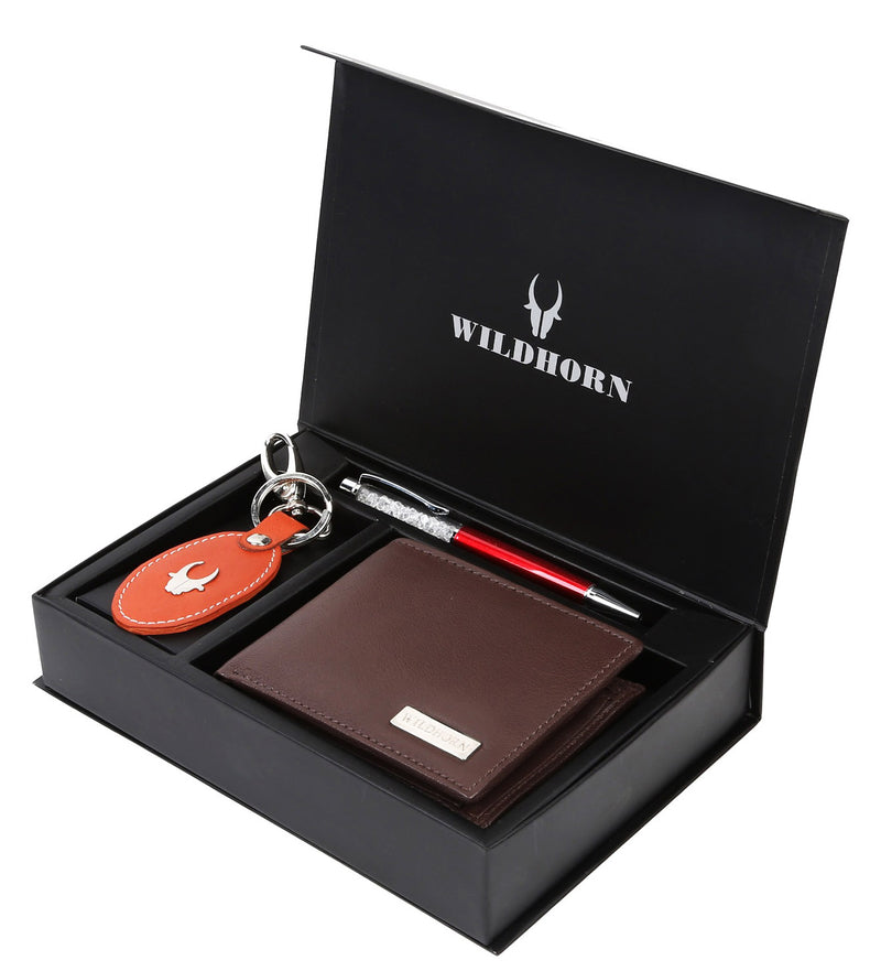 WildHorn® RFID Protected Genuine High Quality Leather Wallet,Keychain & Pen Combo for Men - WILDHORN