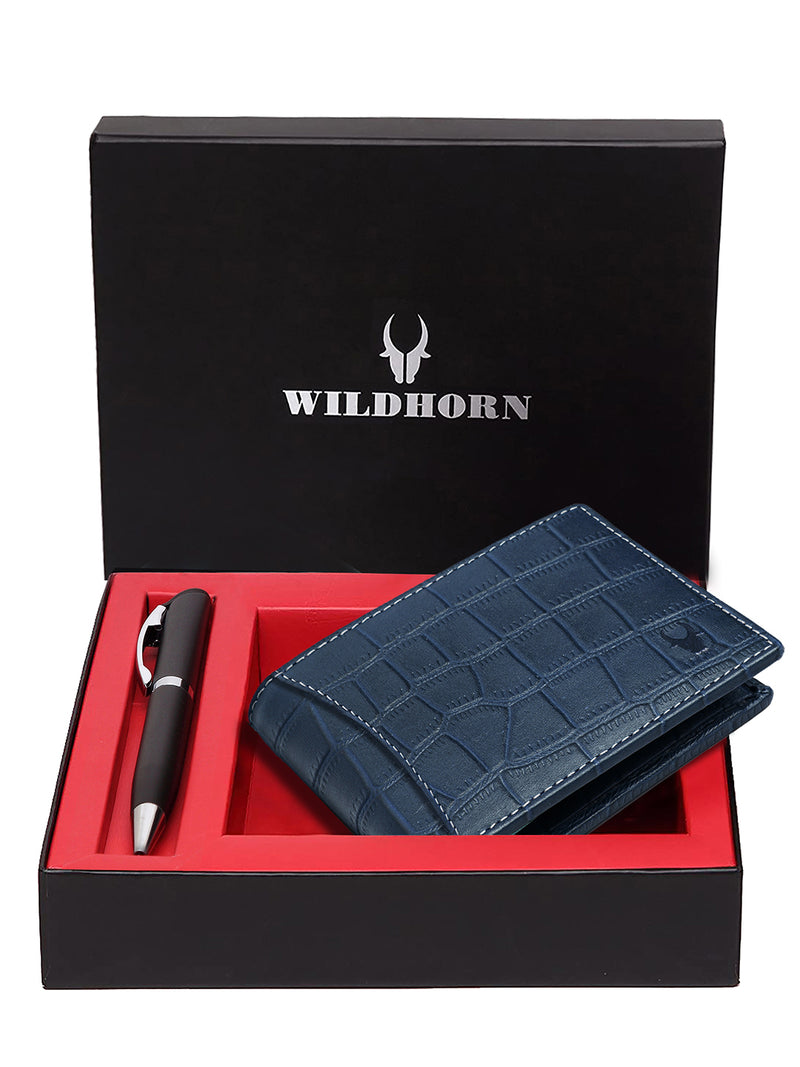 WILDHORN® RFID Protected Genuine High Quality Classic Leather Wallet & Pen Combo for Men
