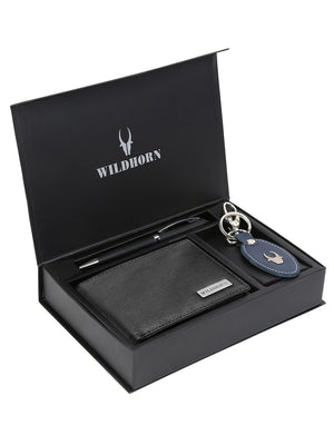 WILDHORN® RFID Protected Genuine High Quality  Leather Wallet, Keychain & Pen Combo for Men