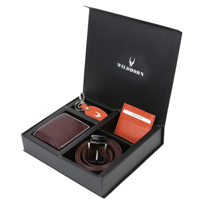 WildHorn® RFID Protected Genuine High Quality Leather Wallet,Keychain,Belt & Card Holder Combo for Men - WILDHORN