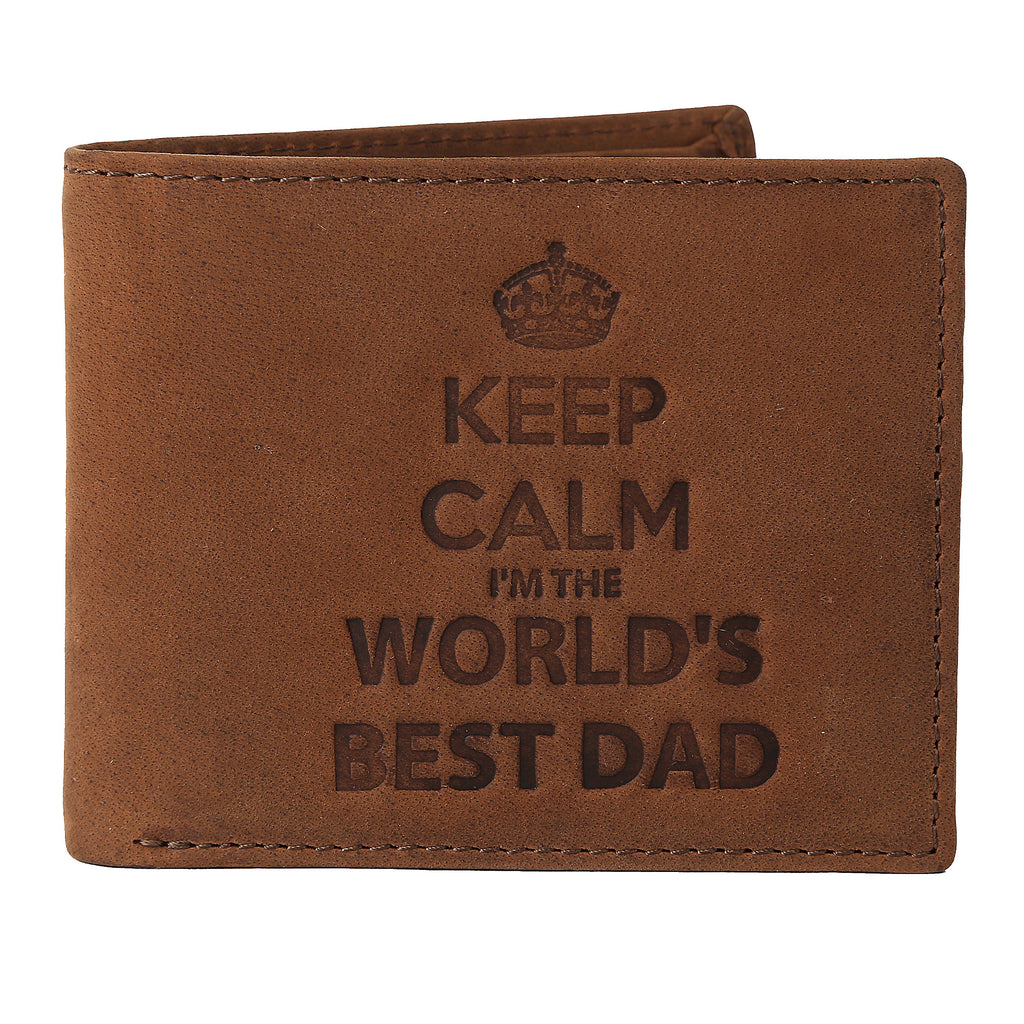 WILDHORN® World's Best Dad Men's Leather Wallet I Gift Hamper for Father