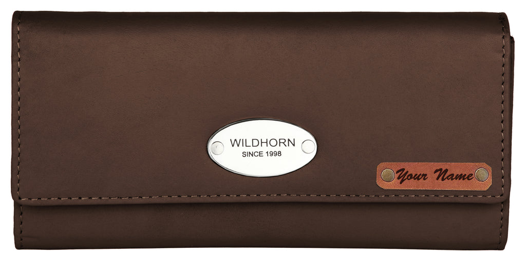 WILDHORN® RFID Protected Customizable Women's Wallet for Gifting | Engrave with Your Name,Company Name or Initials (Brown Nappa)