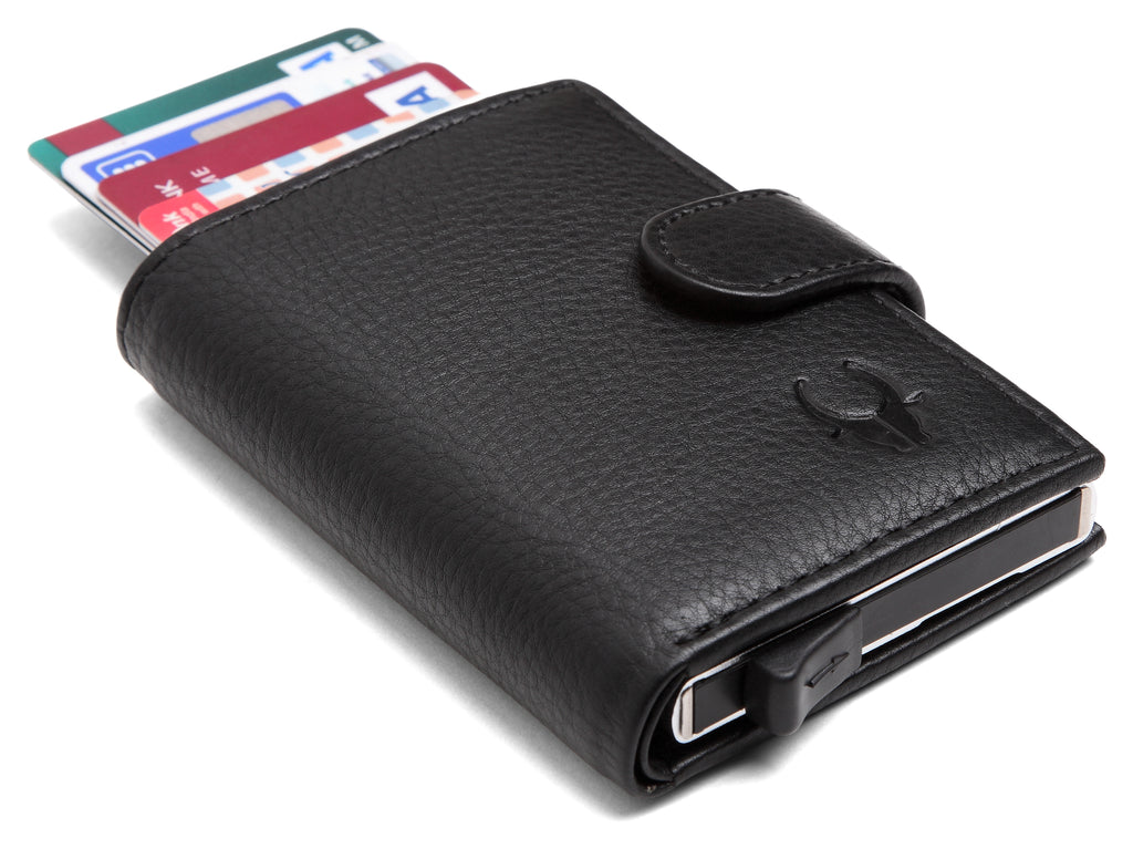 WildHorn® RFID Protected Unisex Genuine Leather Card Holder (Black) - WILDHORN