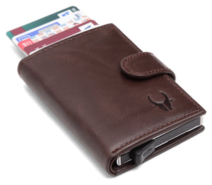 WildHorn® RFID Protected Unisex Genuine Leather Card Holder (Brown Crunch) - WILDHORN