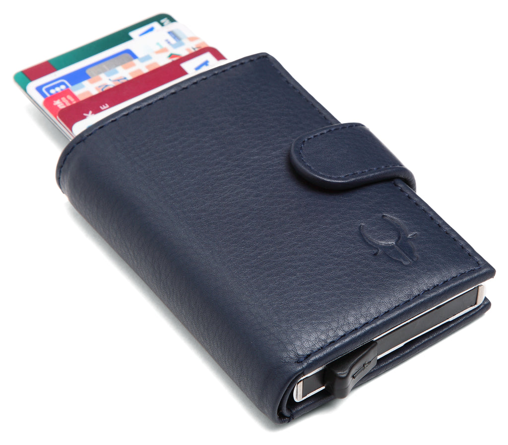 WildHorn® RFID Protected Unisex Genuine Leather Card Holder (Blue) - WILDHORN