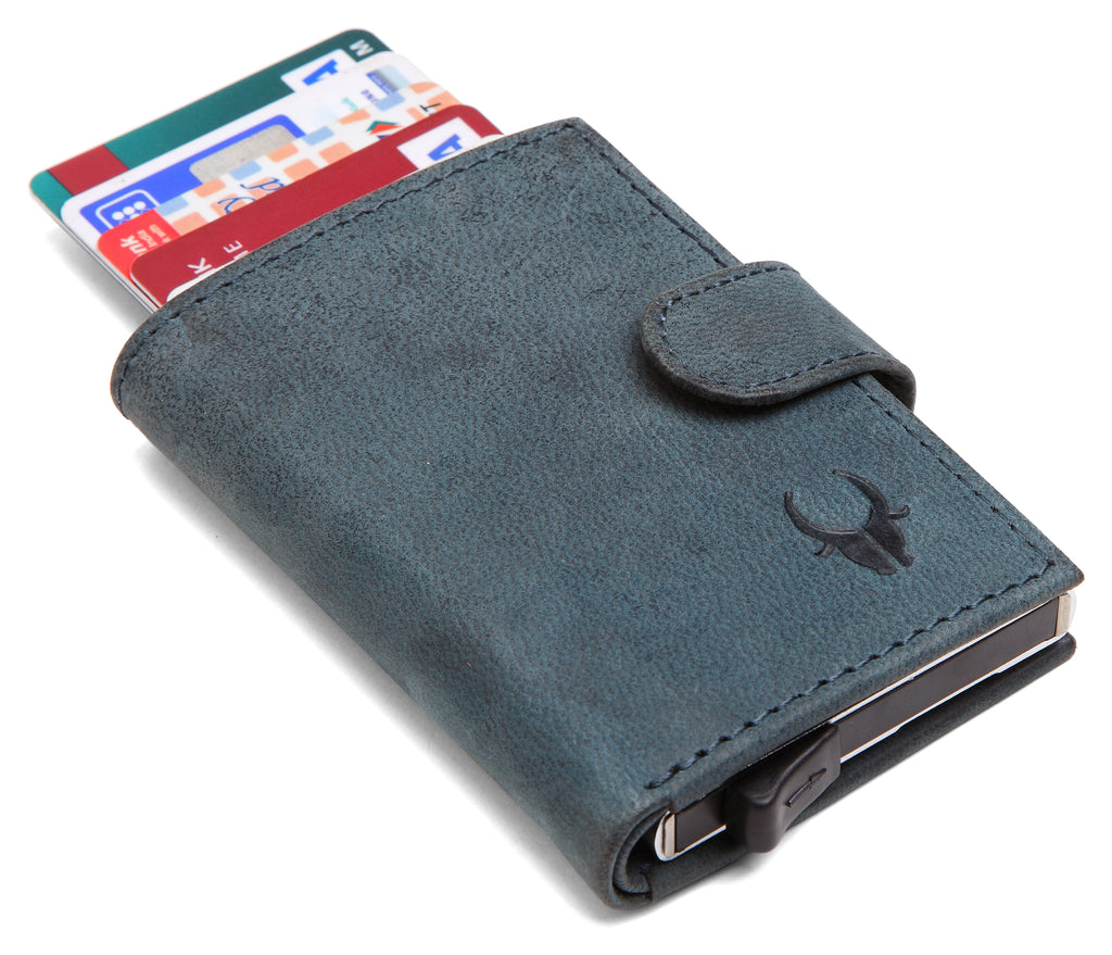 WildHorn® RFID Protected Unisex Genuine Leather Card Holder (Blue Hunter) - WILDHORN