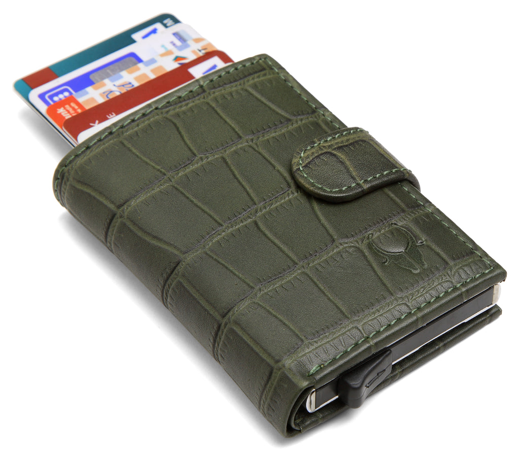 WildHorn® RFID Protected Unisex Genuine Leather Card Holder (Green Croco) - WILDHORN