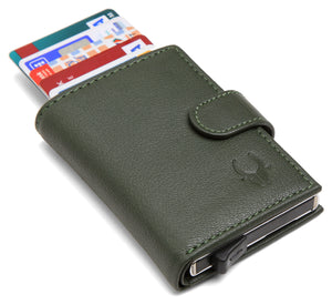 WildHorn® RFID Protected Unisex Genuine Leather Card Holder (Green) - WILDHORN