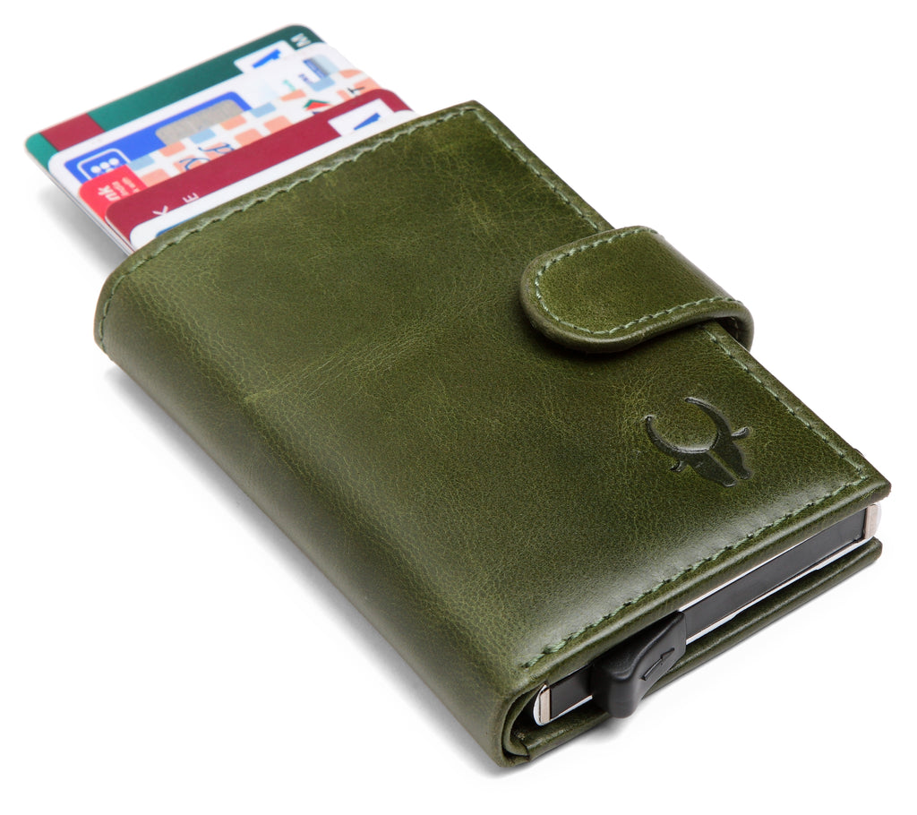 WildHorn® RFID Protected Unisex Genuine Leather Card Holder (Green Crunch) - WILDHORN