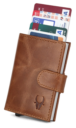 WildHorn® RFID Protected Unisex Genuine Leather Card Holder (TAN Crunch) - WILDHORN