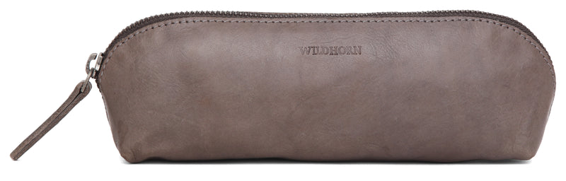 WILDHORN® Leather Stationery Stylish Simple Pencil Bag Durable Compact Zipper Pencil Utility Case Pouch
