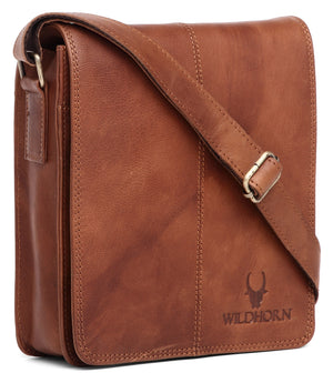 WILDHORN Leather 8 inches Brown Tan Messenger Bag (MB264 Vintage) - WILDHORN