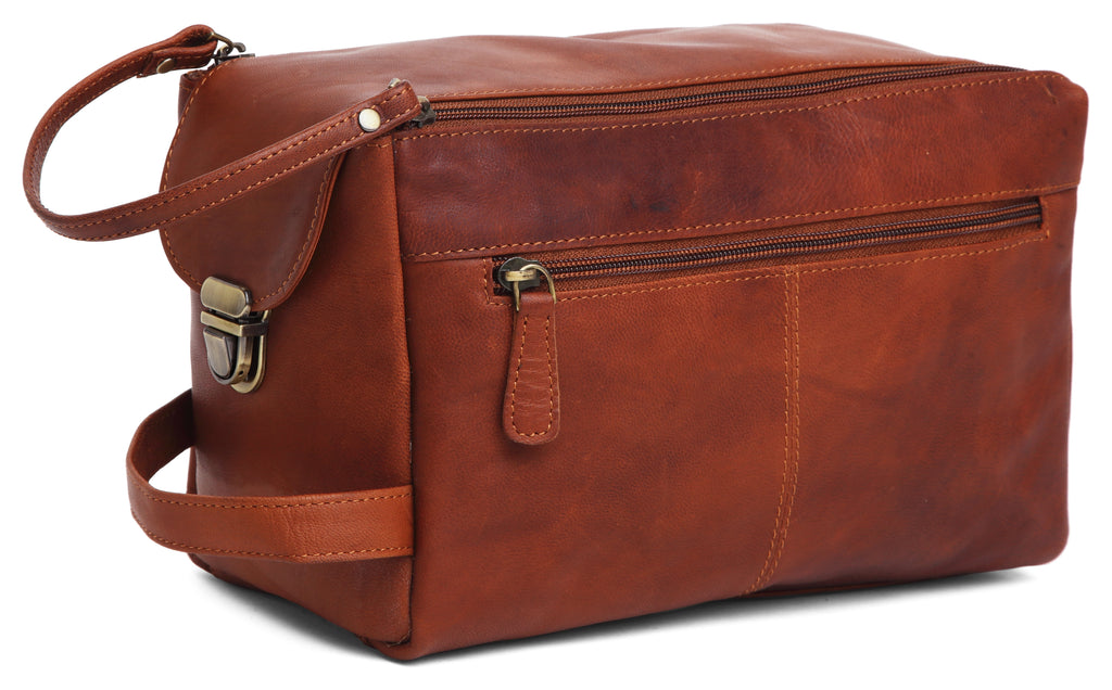 WILDHORN® Leather Toiletry Bag for Men or Women - Dopp Kit for Travel Large Cosmetic and Shaving Bag. Toiletries Organizer