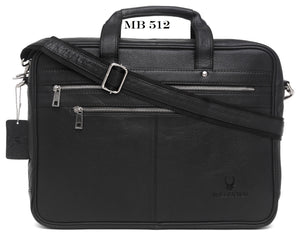 WildHorn Black 100% Genuine Leather (16 inch) Laptop Messenger Bag Dimension : L-16 inch W-3.5 inch H-12 inch - WILDHORN