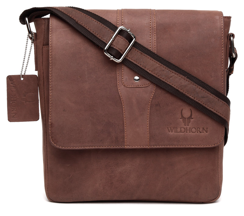 WildHorn Leather 25.4 cms Brown Messenger Bag (MB243) - WILDHORN