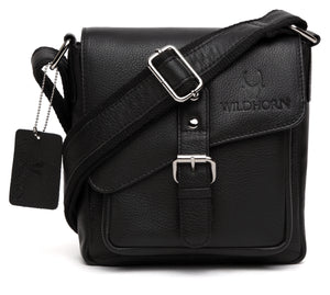 WildHorn Leather Black Messenger Bag for Men - WILDHORN