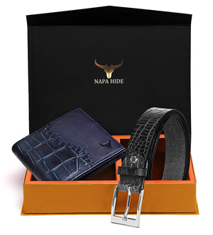 Napa Hide Men's 100% Genuine Leather Wallet & Belt Combo (NPHCOMBO001) - WILDHORN
