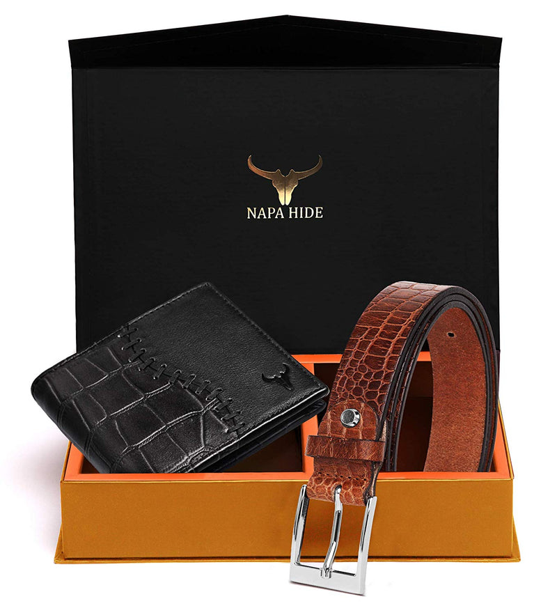 Napa Hide Men's 100% Genuine Leather Wallet & Belt Combo (NPHCOMBO003) - WILDHORN