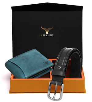 Napa Hide Men's 100% Genuine Leather Wallet & Belt Combo (NPHCOMBO008) - WILDHORN