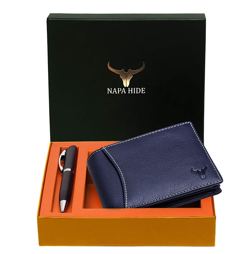 Napa Hide RFID Protected Genuine High Quality Leather Wallet & Pen Combo for Men (NAVY BLUE) - WILDHORN
