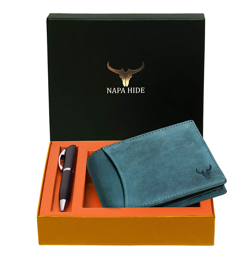 Napa Hide RFID Protected Genuine High Quality Leather Wallet & Pen Combo for Men (BLUE HUNTER) - WILDHORN