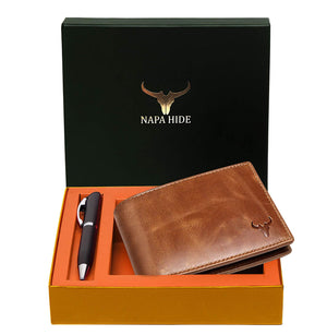 Napa Hide RFID Protected Genuine High Quality Leather Wallet & Pen Combo for Men (TAN CRUNCH) - WILDHORN