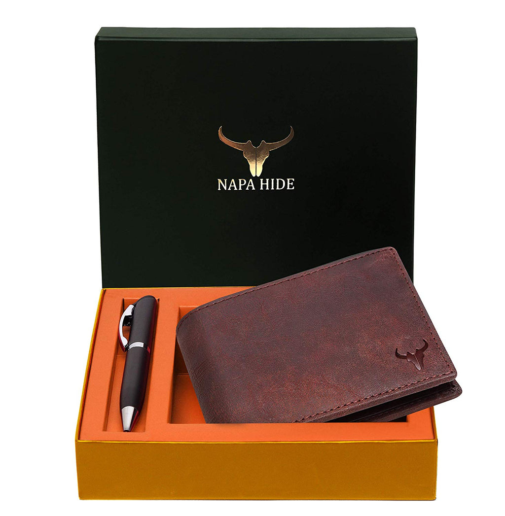 Napa Hide RFID Protected Genuine High Quality Leather Wallet & Pen Combo for Men (CRACKLE) - WILDHORN