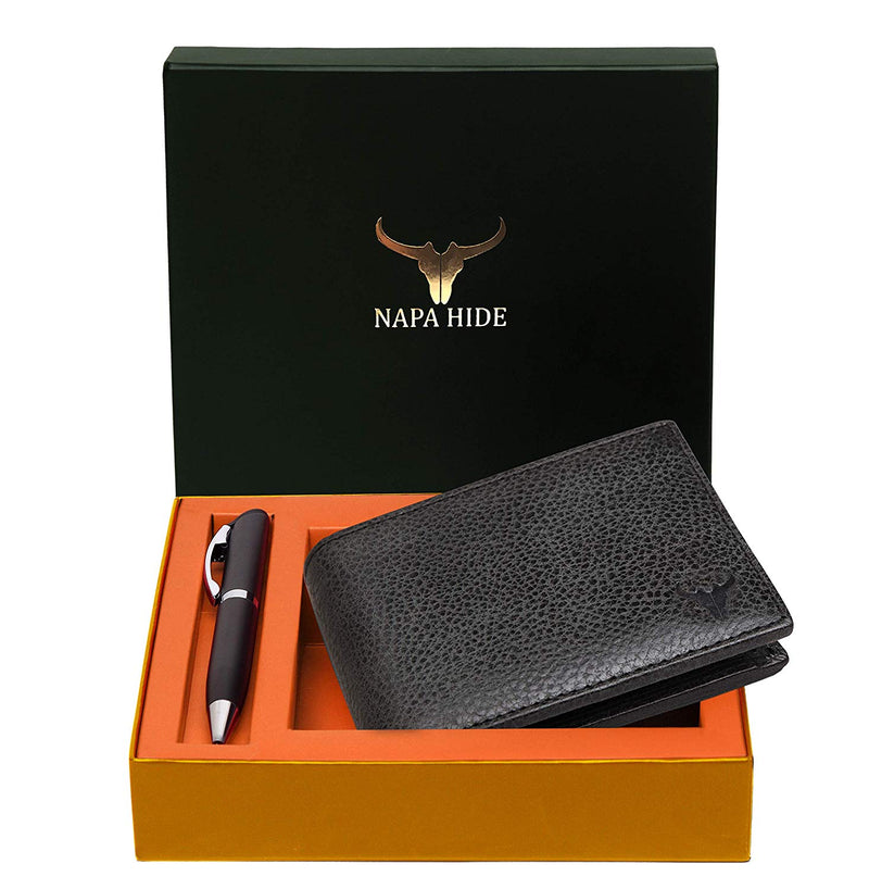 Napa Hide RFID Protected Genuine High Quality Leather Wallet & Pen Combo for Men (BLACK MATT) - WILDHORN