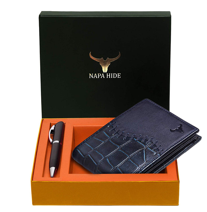 Napa Hide RFID Protected Genuine High Quality Leather Wallet & Pen Combo for Men (BLUE CROCO) - WILDHORN