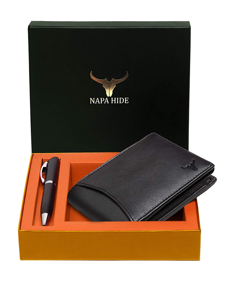 Napa Hide RFID Protected Genuine High Quality Leather Wallet & Pen Combo for Men - WILDHORN