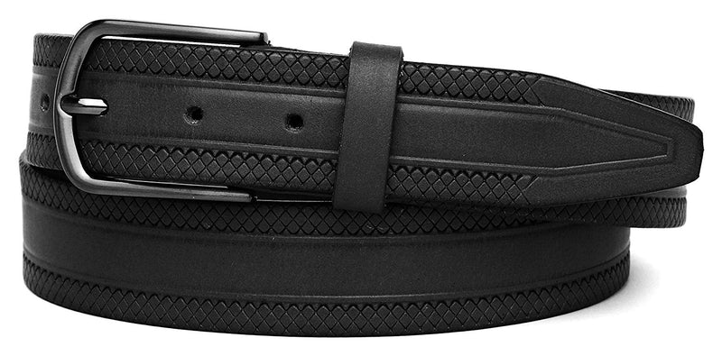 Casual 100% Genuine Leather Mens Leather Belt WHRH523 - BLACK - WILDHORN