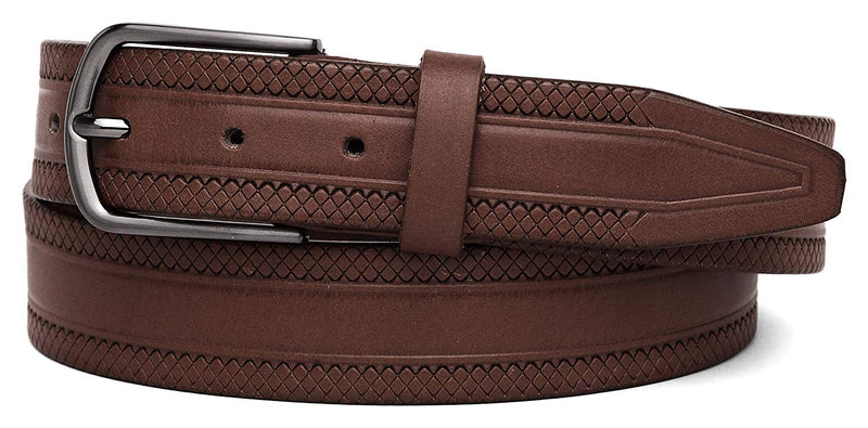 Casual 100% Genuine Leather Mens Leather Belt WHRH523 - BROWN - WILDHORN