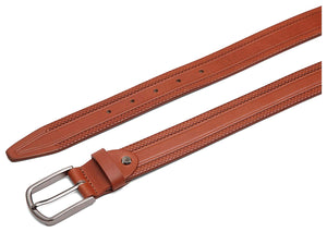 Casual 100% Genuine Leather Mens Leather Belt WHRH523 - TAN - WILDHORN