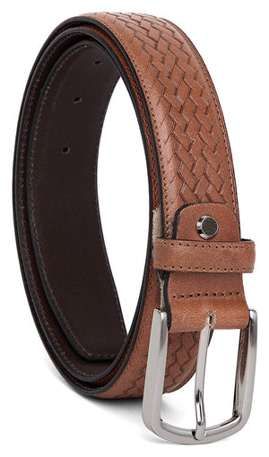 Casual 100% Genuine Leather Mens Leather Belt WHRH525 - BROWN - WILDHORN