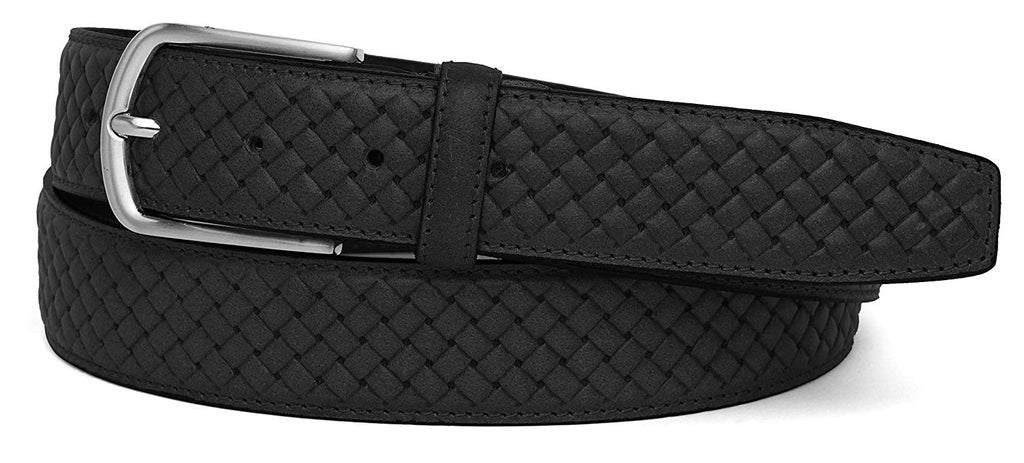 Casual 100% Genuine Leather Mens Leather Belt WHRH526 - BLACK - WILDHORN