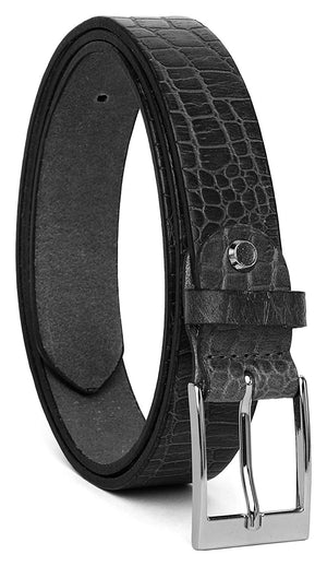 Casual 100% Genuine Leather Mens Leather Belt WHRH528 - BLACK - WILDHORN