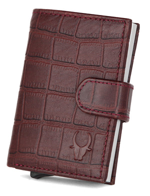 WildHorn® RFID Protected Unisex Genuine Leather Card Holder (Bombay Brown Croco) - WILDHORN