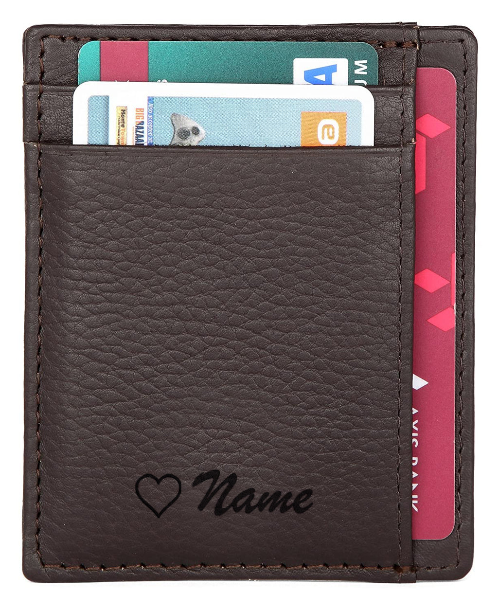 WildHorn® RFID Protected Custom Engraved Personalized High Quality Unisex Leather Card Holder for Gifting - WILDHORN