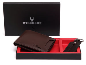 WildHorn® RFID Protected Custom Engraved Personalized High Quality Mens Leather Gift Combo - WILDHORN