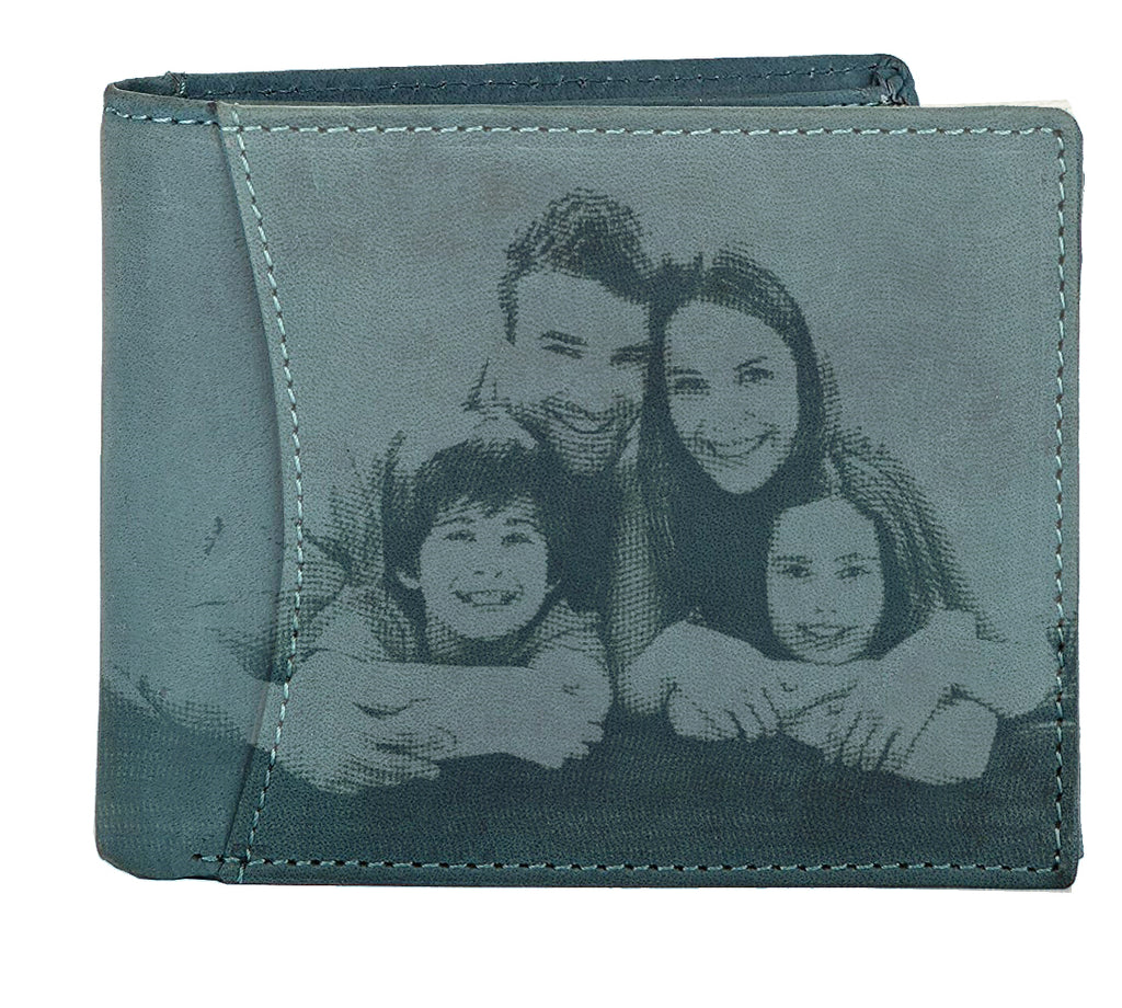 WildHorn® RFID Protected Custom Photo Engraved Personalized High Quality Mens Leather Wallet for Gifting - WILDHORN