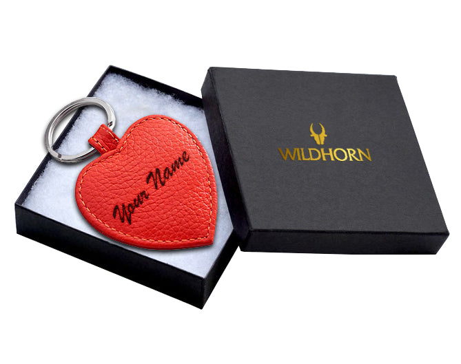 WildHorn®Custom Engraved Personalized High Quality Leather Keychain for Gifting - WILDHORN