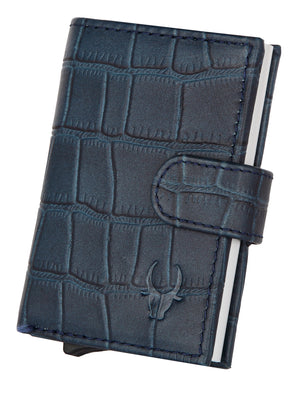 WildHorn® RFID Protected Unisex Genuine Leather Card Holder (Blue Croco) - WILDHORN