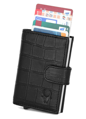 WildHorn® RFID Protected Unisex Genuine Leather Card Holder (Black Croco) - WILDHORN