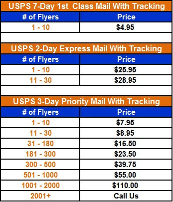 Butterflyers Shipping Rates